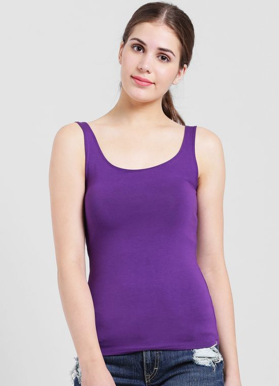 Violet Solid Tank Top for Women