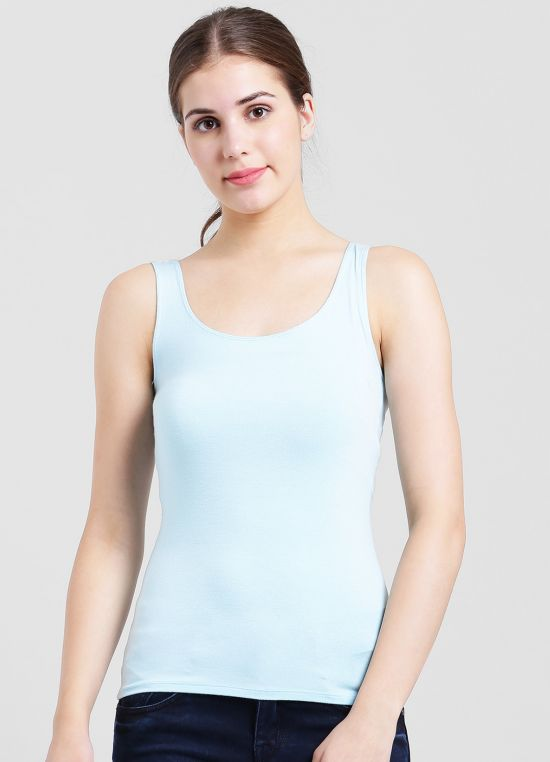 Blue Solid Tank Top for Women