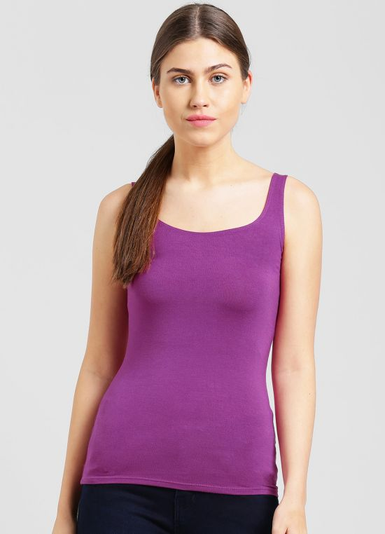 Mauve Solid Tank Top for Women