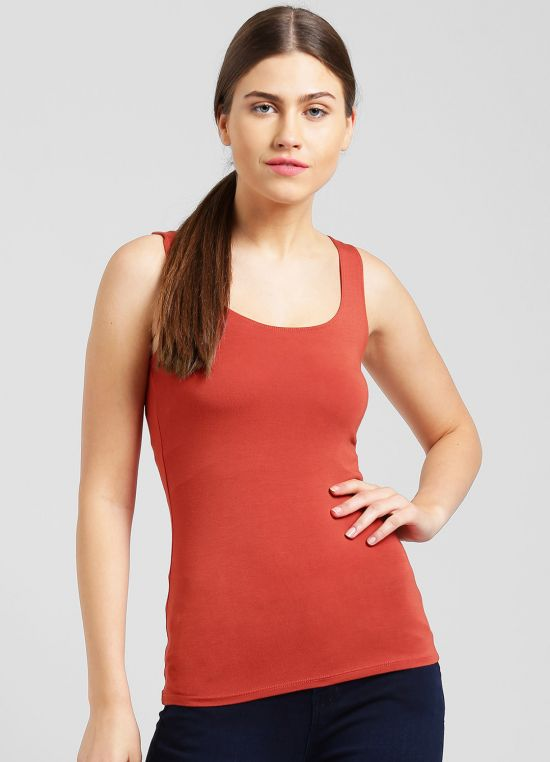 Rust Solid Tank Top for Women