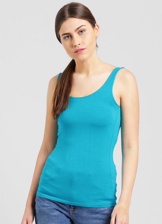 Teal Solid Tank Top for Women