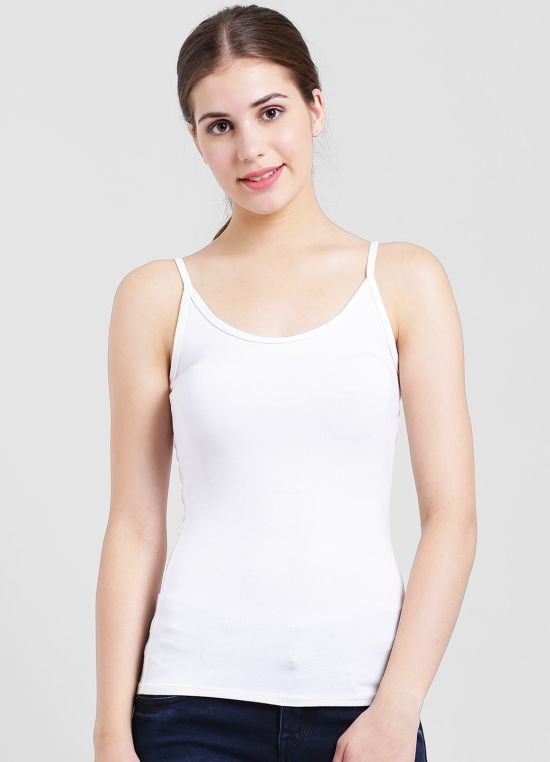 White Solid Tank Top for Women