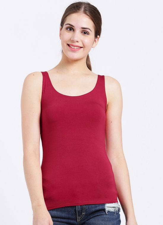 Red Solid Tank Top for Women