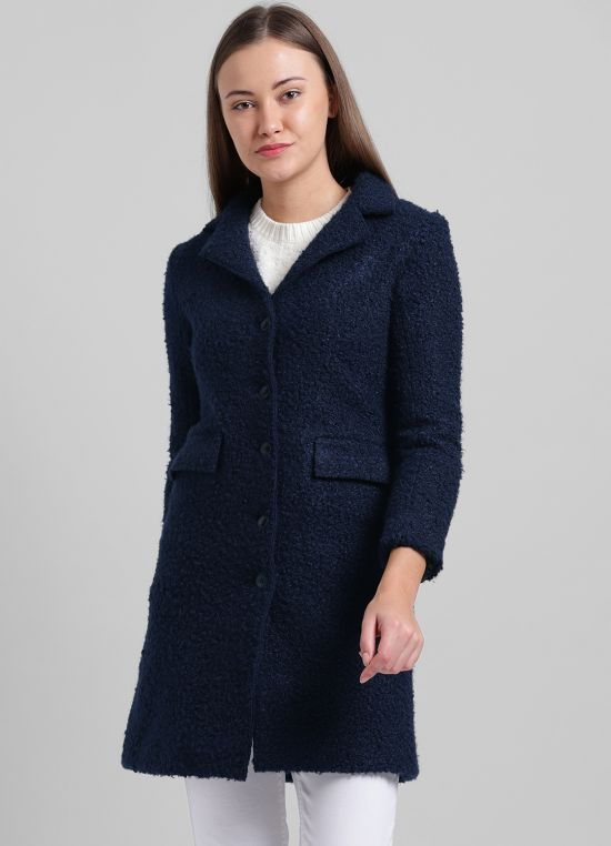 Navy Blue Solid Casual Jacket for Women