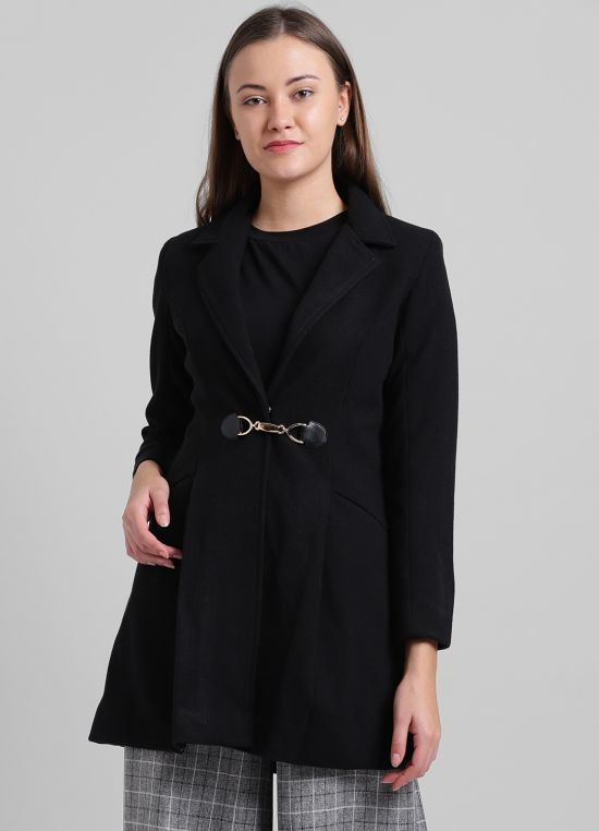 Black Solid Party Jacket for Women
