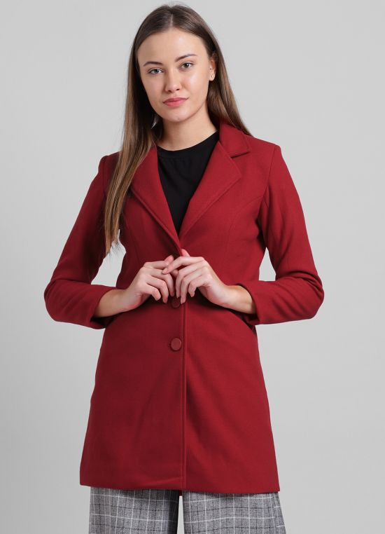Red Solid Casual Jacket for Women