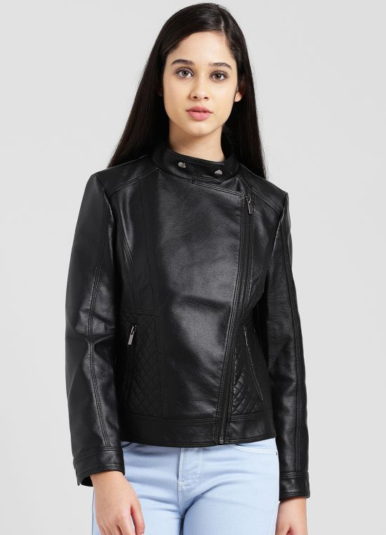Black Solid Casual Jacket for Women