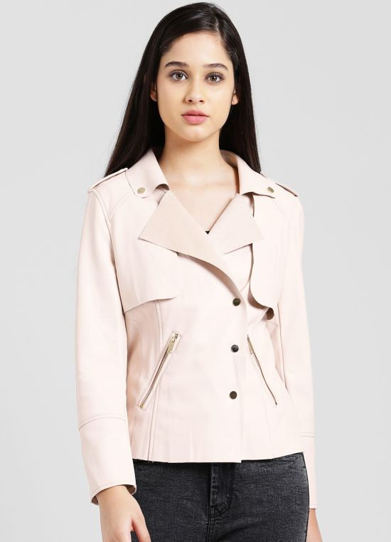 Pink Solid Casual Jacket for Women
