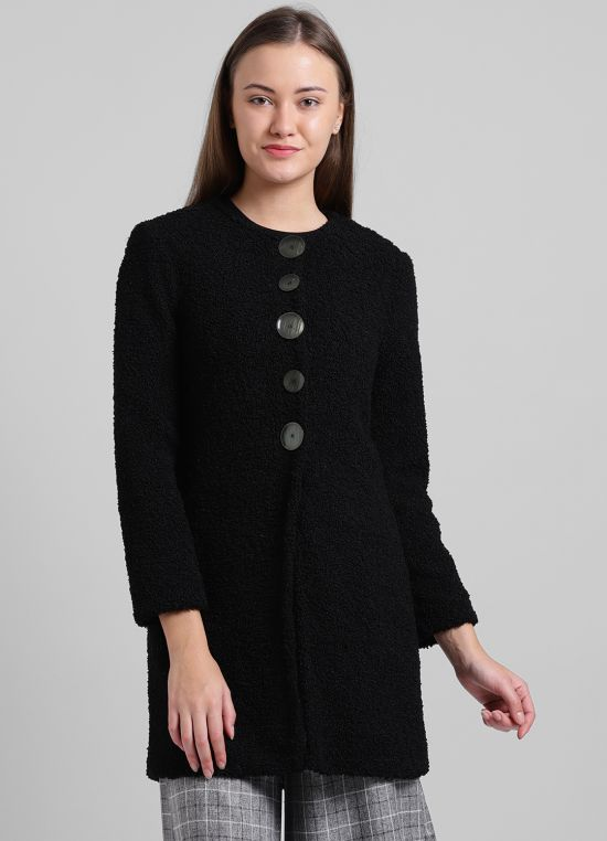 Collarless Coat With Statement Buttons