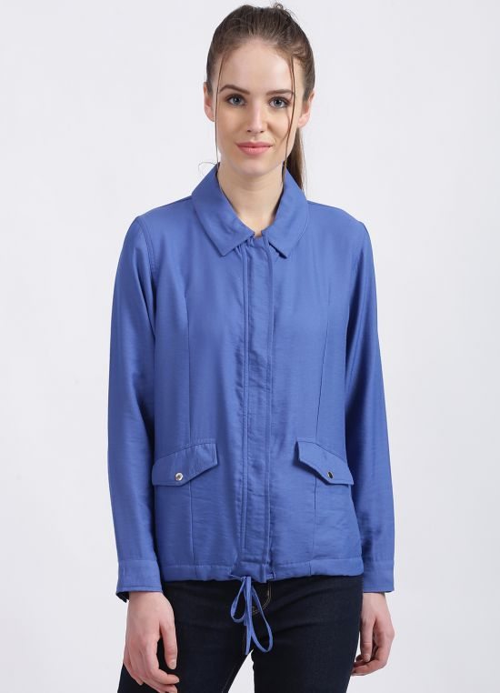 Zink London Women's Blue Solid Regular Summer Jacket