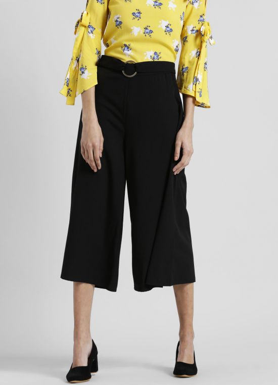 Mid-Rise Solid Flared Culottes for Women
