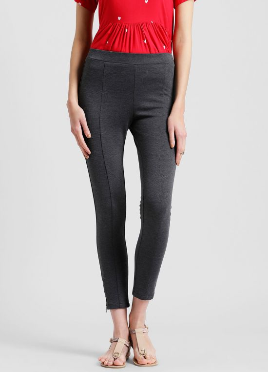 Charcoal Colored Skinny Fit Jeggings for Women
