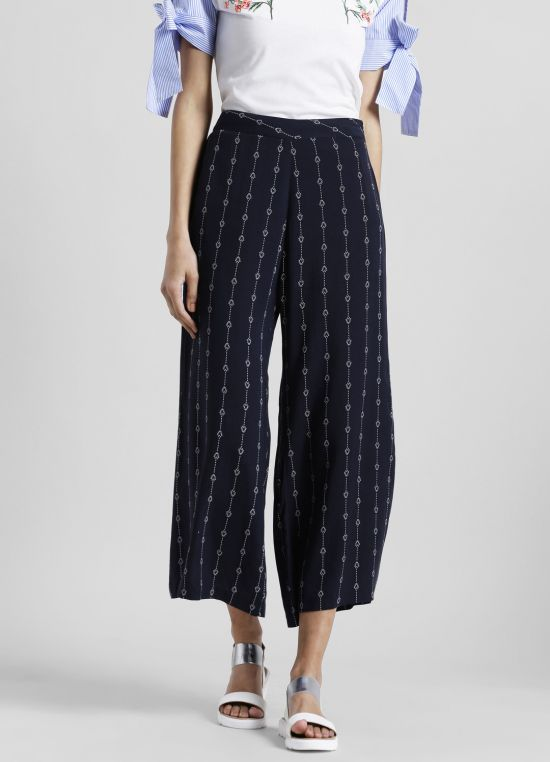 Mid-Rise Striped Straight Fit Culottes for Women