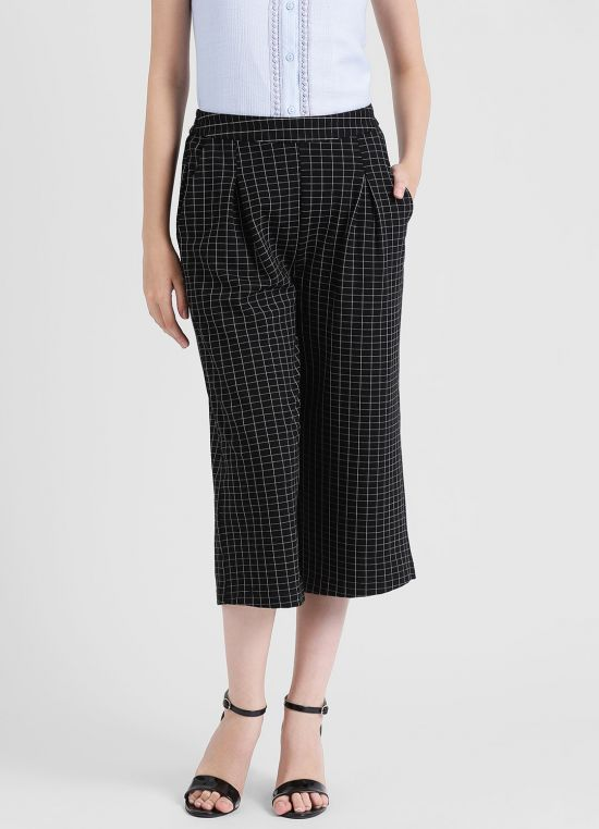Women's Black Checked Culottes