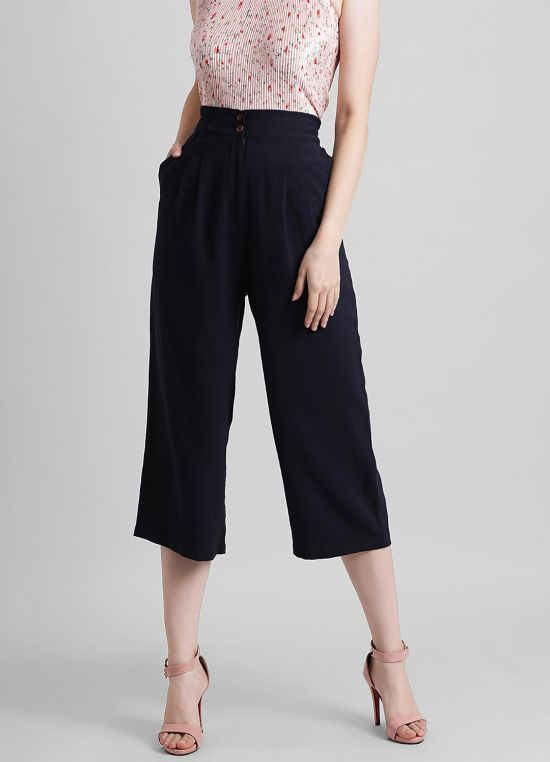 Women's Solid Regular Parallel Trouser