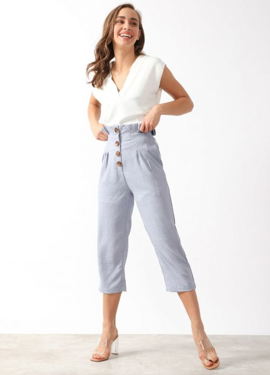 Women's Blue Solid Three-Fourth Length Cigarette Trouser