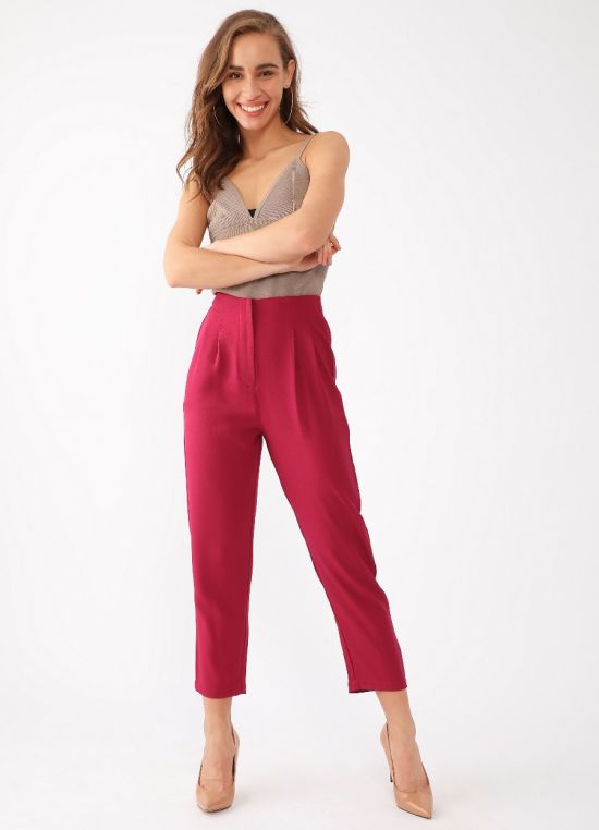 Red Solid Trouser for Women