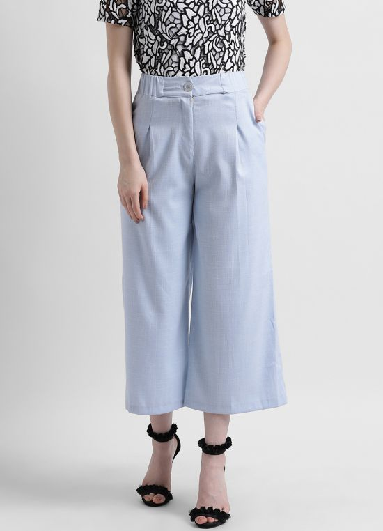 Women's Blue Solid Culottes
