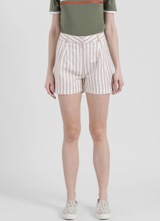 Zink London Women's White Striped Short Pant