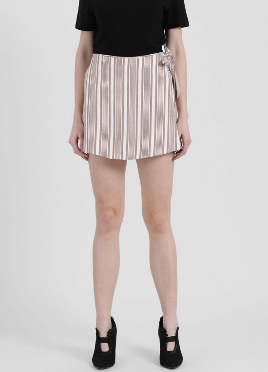 Zink London Women's Brown Striped Skort