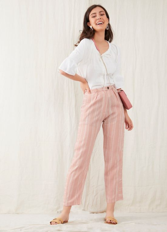 Zink London Pink Striped High Waisted Trouser