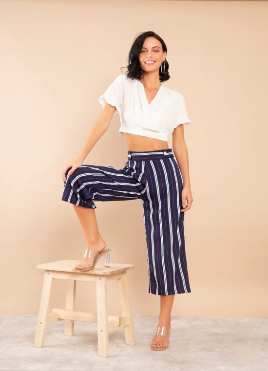 Zink London Blue Striped High Waisted Culotte