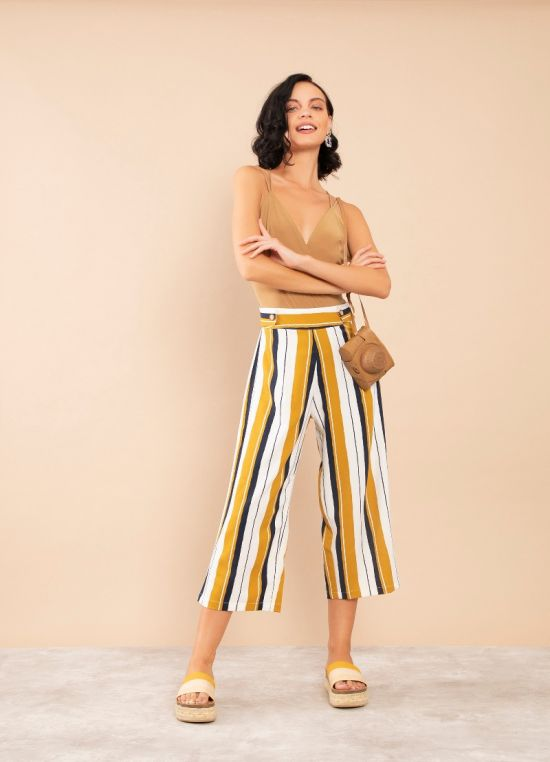 Zink London Mustard Striped High Waisted Palazzo