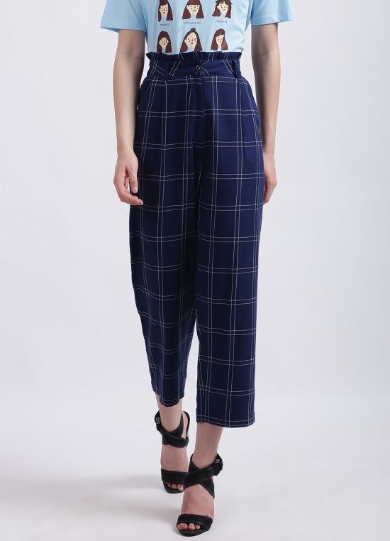 Zink London Women's Blue Checked Trouser