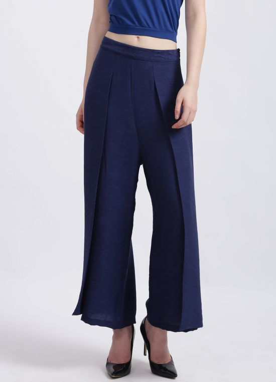 Zink London Women's Blue Solid Palazzo