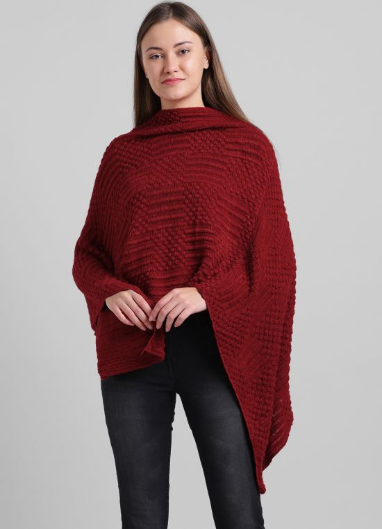 Red Solid Poncho for Women