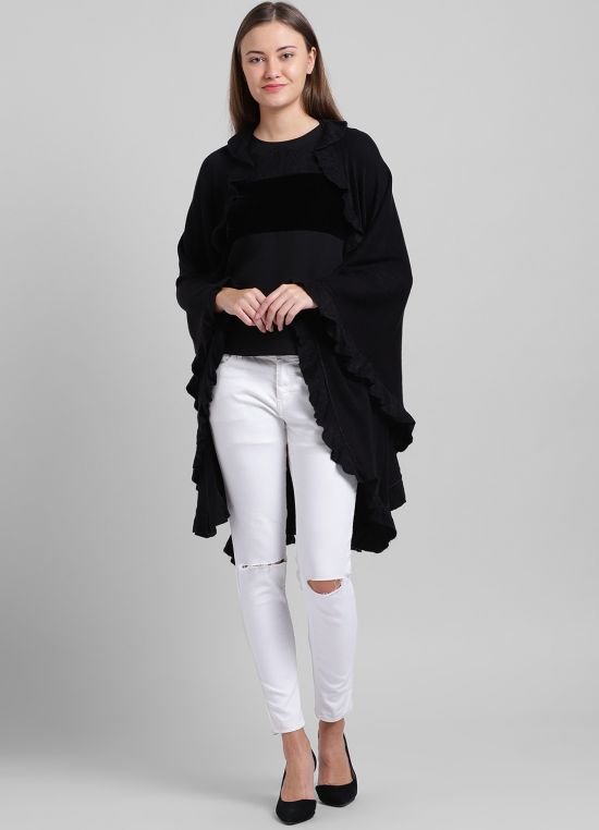 Black Solid Poncho for Women