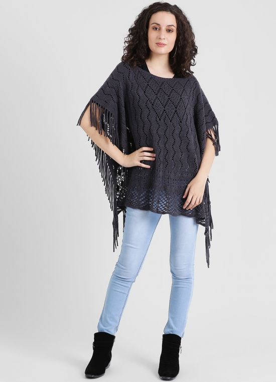 Charcoal Self Design Poncho for Women
