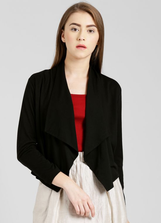 Black Solid Shrug for Women