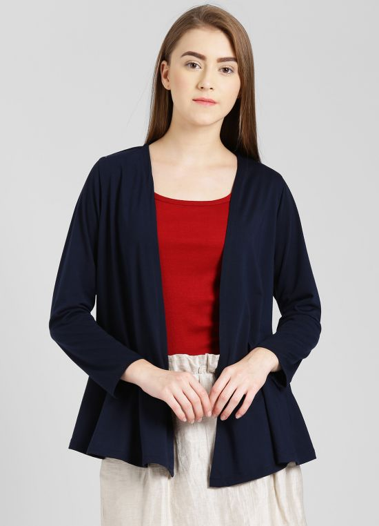 Navy Blue Solid Shrug for Women