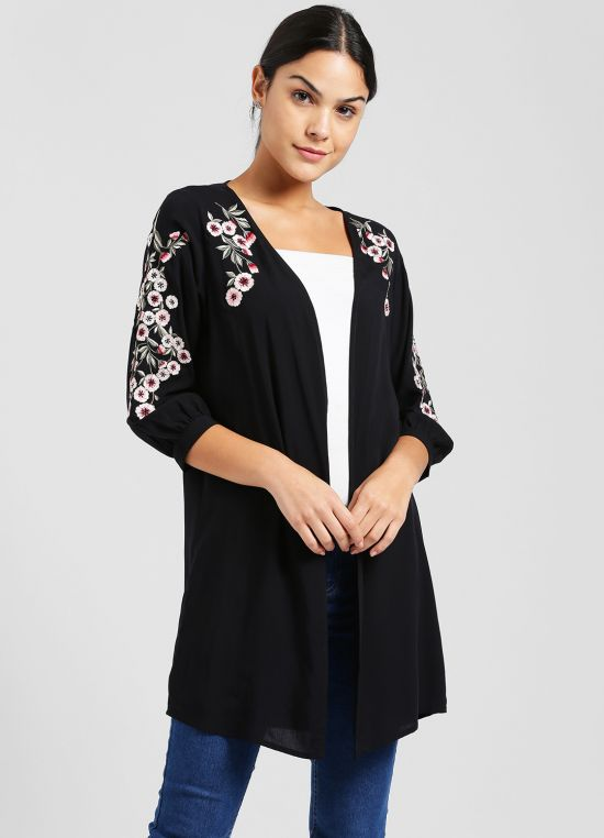Black Solid Embroidered Shrug for Women