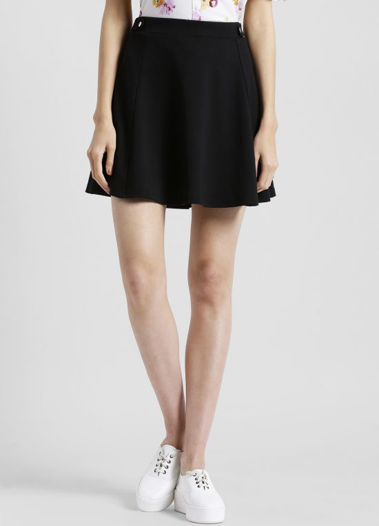 Solid Flared A-Line Mini Skirt for Women
