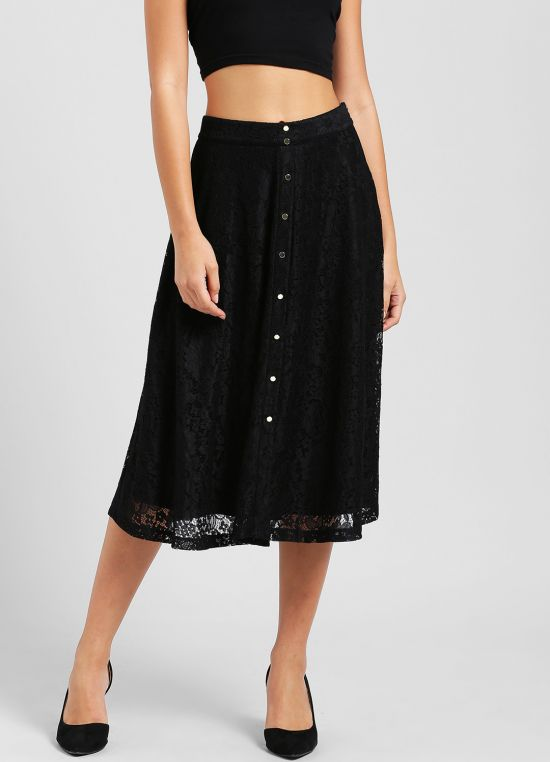 Black Self Design Skirt for Women