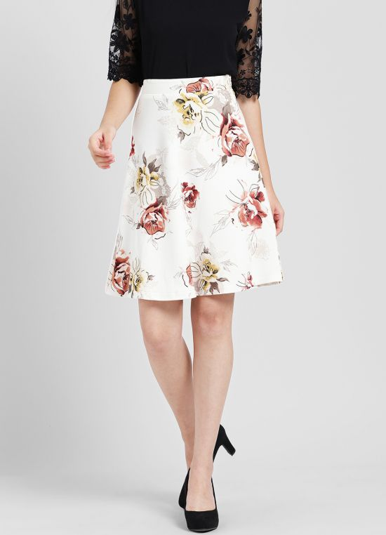 White Printed A-Line Skirt for Women
