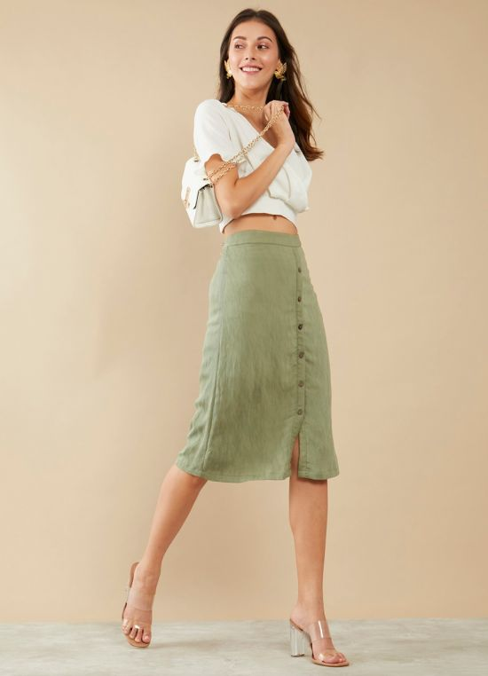 Zink London Olive Green Solid High Waisted Skirt