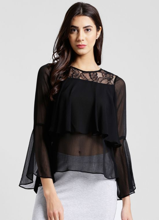 Long Sleeves Solid Tiered Top for Women