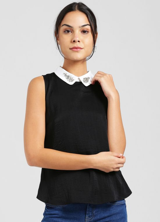 Black Solid Top for Women