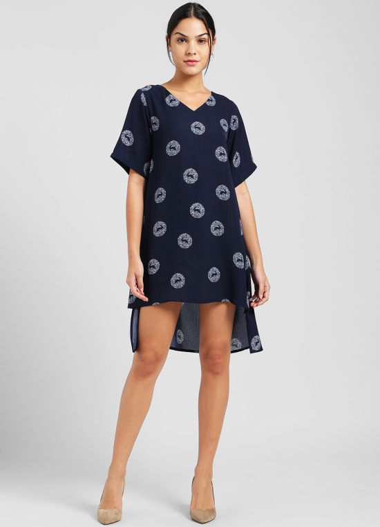 Navy Blue Printed Tunic for Women