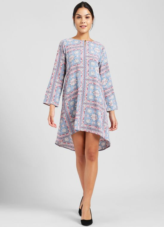 Blue Printed Tunic for Women