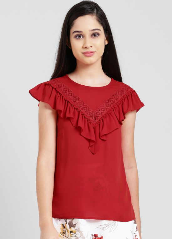 Red Round Neck Solid Top for Women