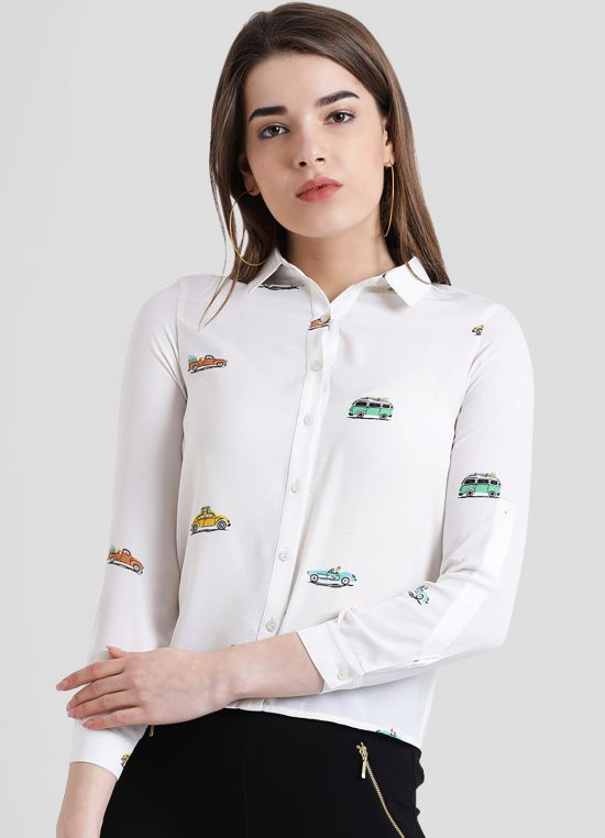 White Printed Shirt-Style Top for Women