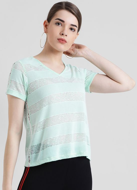 Sea Green V-Neck Solid Top For Women