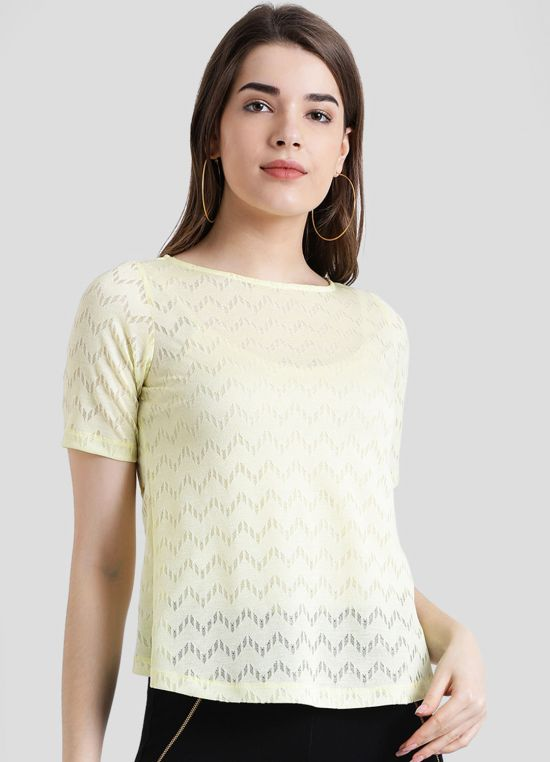 Yellow Round Neck Solid Top For Women