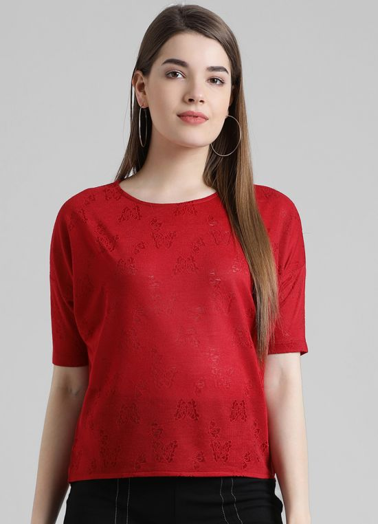 Red Round Neck Self Design Top for Women