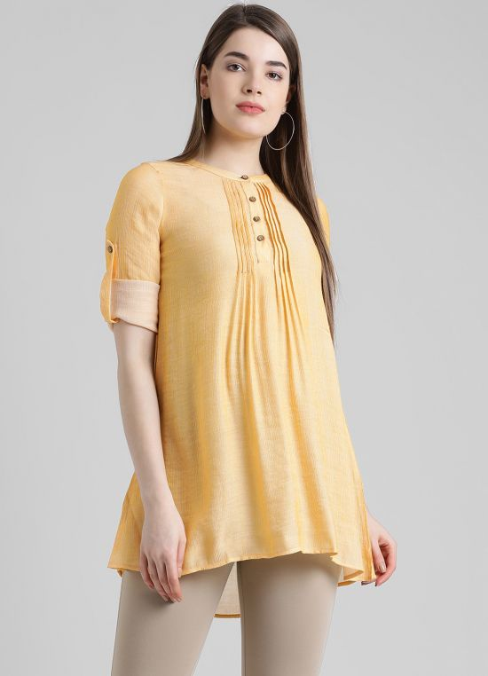 Yellow Solid Tunic for Women