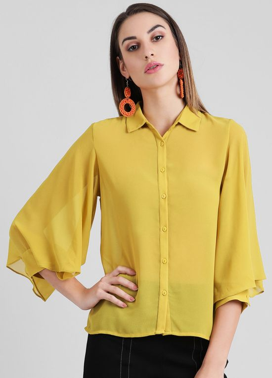 Women's Solid Shirt Style Top